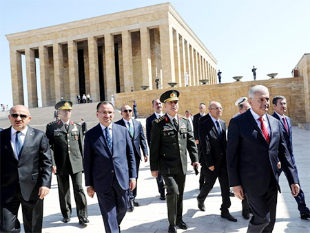 Macintosh HD:Users:musirah.farrukh:Desktop:CMR:Monitor:CMR Monitor August:NY times Prime Minister Binali Yildirim of Turkey, front right, and the chief of staff, Gen. Hulusi Akar, third from left, visit the Mustafa Kemal Ataturk Mausoleum before the Turkish Supreme Military Council meeting in Ankara on Wednesday.jpg